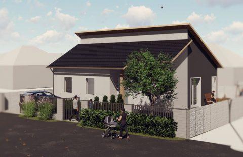 (Ref.:HIC124) Modern, földszinti új építésű 100 m2, 3 szoba + nappalis ECO tégla családi ház