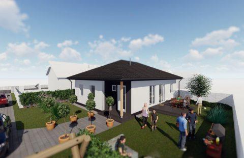 (Ref.:HIC125) Modern, földszinti új építésű 101 m2, 3 szoba + nappalis ECO tégla családi ház